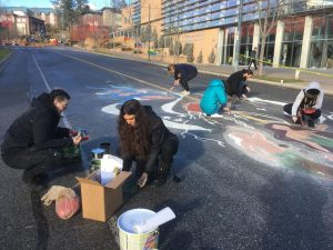 Visual Art students transform University Way into a temporary mural