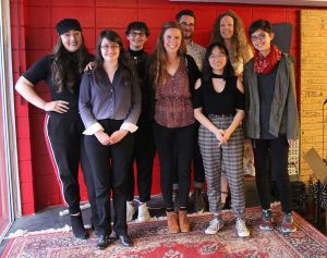 Short Story Contest Winners: (left to right) Victoria Alverez, Aria Davis, Erin Scott, Dania Tomlinson, Matt Rader, Alyssa Kong, Katie Welch, Akke Englund
