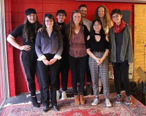 Short Story Contest Winners: (left to right) Victoria Alverez, Aria Davis, Erin Scott, Dania Tomlinson, Matt Rader, Alyssa Kong, Katie Welch, Akke Englund