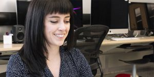 Emily Murphy working in the AMP Lab at UBC Okanagan.