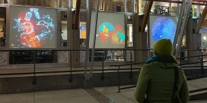 Celestial Bodies projection at the Rotary Centre for the Arts