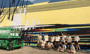 Large-scale mural adds splash of colour to downtown architecture